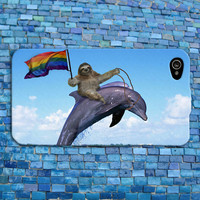 Funny Sloth Riding a Dolphin with Gay Pride Flag Cute iPhone Case iPhone 4 iPhone 5 iPhone 4s iPhone 5s iPhone 5c Case