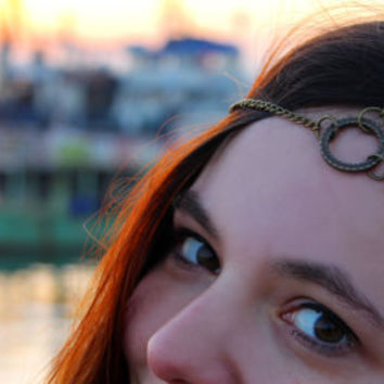 Olive Branch - Peace The Ancient Greek Antique Bronze Chain Headdress, Headchain, Headpiece, Bridal Gypsy Boho Hippie Bohemian