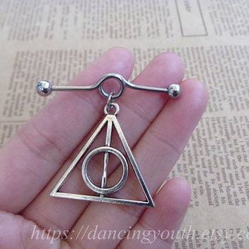 Silver Harry potter deathly hallows industrial barbell, Industrial Barbell, piercing,industrial barbell earring jewelry,