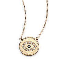 Jacquie Aiche - Blue Diamond & 14K Yellow Gold Hammered Disc Eye Necklace - Saks Fifth Avenue Mobile