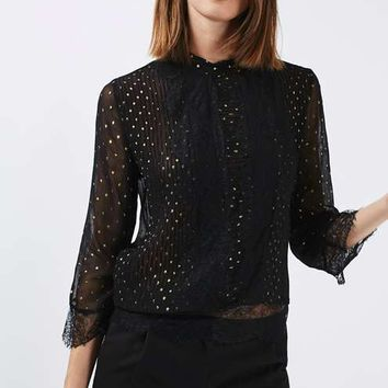 Lace Foil Pintuck Blouse - Tops - Clothing