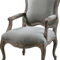 Willa Steel Gray Armchair by Uttermost