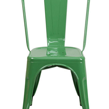Flash Furniture Green Metal Indoor-Outdoor Stackable Chair CH-31230-GN-GG