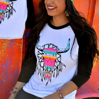 Crazy Train Neon Serape Western Dreamin' Baseball Tee