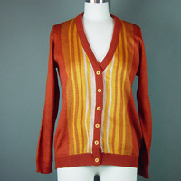 60s 70s Rust Cardigan Sweater Vintage Orange Striped Jumper Button Front Scholastic Preppy S M