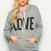 Heather Grey Love Hoodie Sweater Top Plus Size