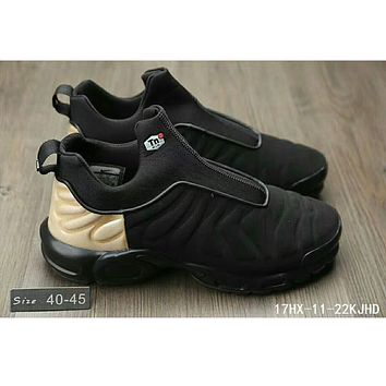 Nike Air Max Plus Slip SP TN tide fashion retro cushioned non-belt casual jogging shoes F-HAOXIE-ADXJ Black + Khaki