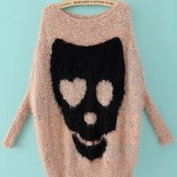 Pink Batwing Long Sleeve Skull Print Pullovers Sweater - Sheinside.com