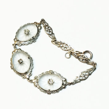 Sterling Silver Art Deco Camphor Glass Bracelet, Rock Crystal, Quartz, Filigree, Wedding Jewelry, 1920s, 1930s