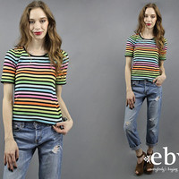 Rainbow Sweater Rainbow Shirt Rainbow Knit Rainbow Top Pride Shirt 90s Top 90s Sweater Colorful Sweater Striped Sweater Striped Top S