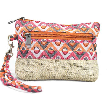Mato Naturals Hemp Mini Crossbody Wristlet Handbag Coin Purse Clutch Wallet Wrist Strap Pouch