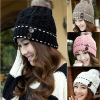 New Fashion Autumn Winter Cap Women Warm Woolen Knitted Hat For Women Cap Slouch Woman Hat Beanie Crochet Hat SV011388|28001 Apparel & Accessories = 1958014660