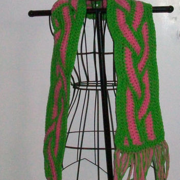 Neon Green and Hot Pink Braided Scarf with Fringe, Handmade Crochet,  Fashion Scarf, Acrylic Yarn