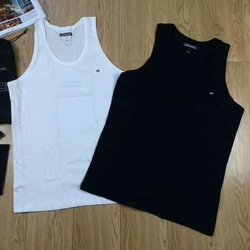 DCCKN6V Tommy Hilfiger Print Casual Sport Short Sleeve Shirt Top Tee Blouse A pack of two White+Black G-A-GHSY-1