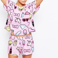 ASOS Emoji Short & Tee Pyjama Set at asos.com