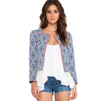 Blue Retro Print Long Sleeve Jacket