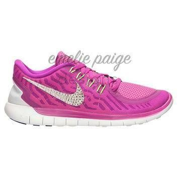 Tagre™ Nike Free 5.0 (Fuchsia) running shoes with Swarovski Crystals