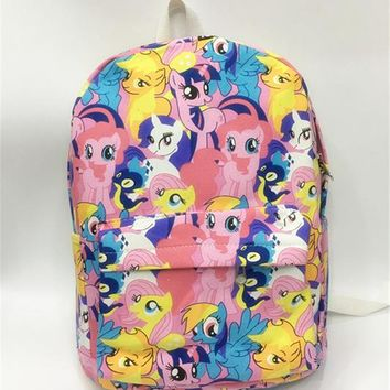 Student Backpack Children 2018 Rushed Mochilas Mochila Escolar School Ma Bao Li Backpack My Little For Pony Cute Students Bag Canvas Parent-child Package AT_49_3