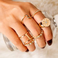 Rhinestone Engraved Hollow Out Ring Set 5pcs