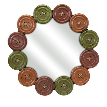 Round Wall Mirror - Button Style