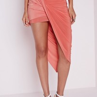 Missguided - Draped Asymmetric Slinky Midi Skirt Peach