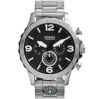 Fossil Men's Nate Chronograph Compass Stainless Steel Watch - Silver