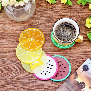 6Pcs/Set Fruit Coaster Colorful Silicone Tea Cup Drinks Holder Mat Dia.9cm