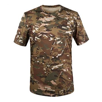 SZ-LGFM-New Outdoor Hunting  T-shirt Men Breathable Army Tactical Combat T Shirt Military Dry Sport Camo Camp Tees-CP Green