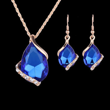 2016 New Jewelry Sets Gold Plated Crystal White/Red/Blue/Black 5 color created Diamond Waterdrop Necklace Earrings Gift