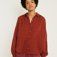 UO Tabby Bronze Textured Stripe Button-Through Shirt | Urban Outfitters