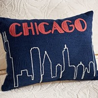 Chicago Crewel Embroidered Pillow