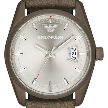 Men's Emporio Armani Leather Strap Watch, 42.5mm - Khaki/ Silver