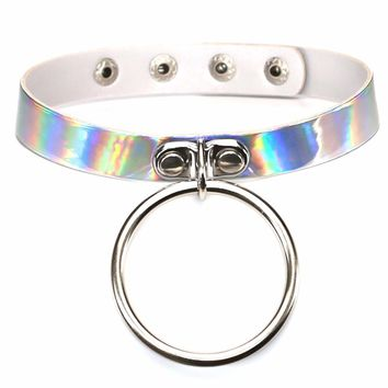 Holographic Reflective Handmade PU Leather Punk Gothic Collar Choker Necklaces