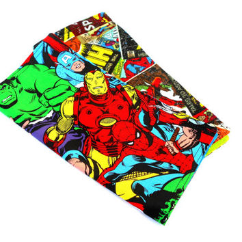 Marvel Super Heroes Double Sided Lunch Cloth Napkins -Set of 2 Comic Book Napkins
