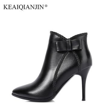 KEAIQIANJIN Women's Genuine Leather Ankle Boots Winter Autumn High Heels Martin Boots Black Red Butterfly Knot Woman Shoes 2018