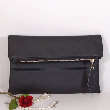 Evening black clutch, foldover leather clutch, wedding clutch for bride, black leather purse, gift for bridesmaids, wedding black clutch bag