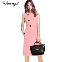 Vfemage Womens Elegant Button Pocket Tunic Vintage Work Office Casual Party Vestido Fit and Flare A Line Skater Shift Dress 6786