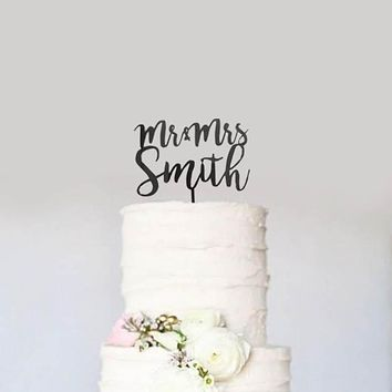 Custom Personalized Name Mr & Mrs Wedding Cake Topper Modern Calligraphy Cursive Cake Topper