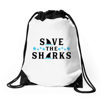 Save The Sharks Drawstring Bags
