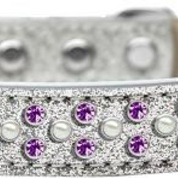 Sprinkles Ice Cream Dog Collar Pearl and Purple Crystals Size 14 Silver