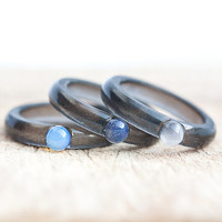 Gemstone Resin Ring Black Blue Opal Rose Quartz Stacking Ring Smooth Ring OOAK