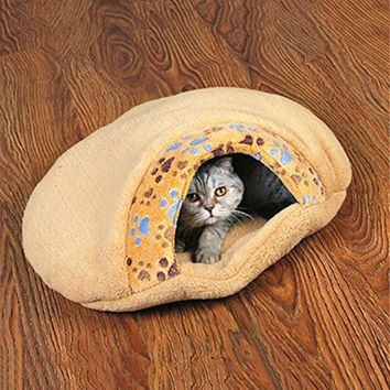 Paw Printed Soft Bed, House, Cave, Pouch and Mat for Cat or Dog