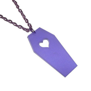 Coffin Necklace, Purple Frosted Acrylic Heart Shape Pastel Goth