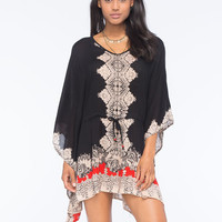 Angie Scarf Print Caftan Dress Black  In Sizes