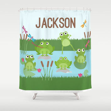 Froggy Fun  Personalized Shower Curtain