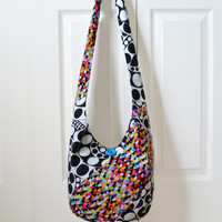 Hobo Bag, Sling Bag, Patchwork, Geometric, Rainbow, Black and White, Hippie Purse, Crossbody Bag