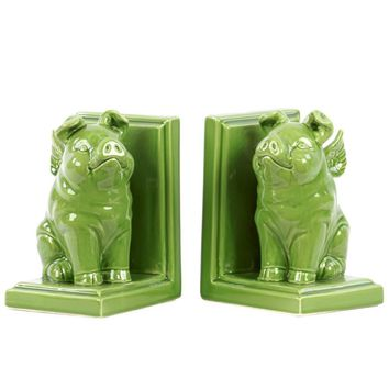 Ceramic Sitting Winged Pig Bookend - Yellow Green