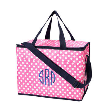 Polka Dot Cooler Bag Pink and Navy Blue Insulated Tote - Monogrammed Personalized