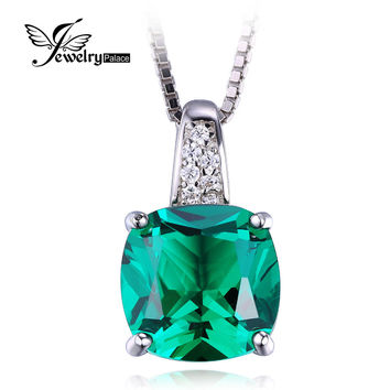 Nano Russian Emerald Pendant Solid 925 Sterling Solid Silver Square Cut Fashion Jewelry Unique Design 2015 Brand New For Women