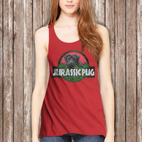 Jurassic Pug Women Tanktop - tri1 Tanktop For Women  / Custom - Tanktop / Women Tanktop